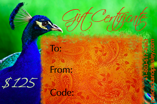 Gift Certificates Now Available In The Peacock And Paisley Shop