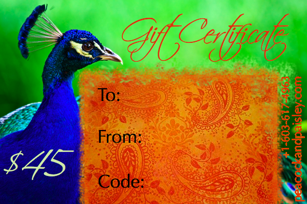 Peacock & Paisley Gift Certificate $45