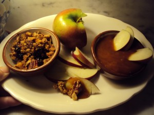 apples, caramel, granola